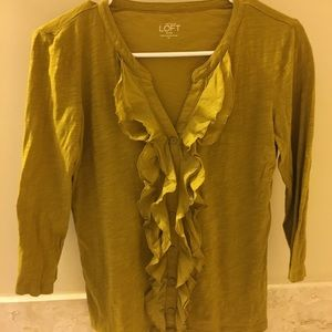 Loft ruffle T-shirt, mustard yellow